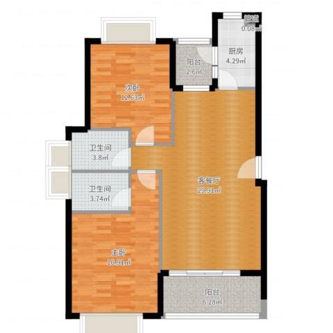 五洲云景花苑2室2厅2卫1厨100.00㎡户型图