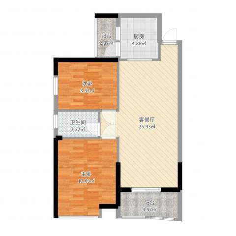 海天阳光花园2室2厅1卫1厨79.00㎡户型图