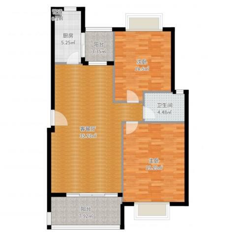 五洲云景花苑2室2厅1卫1厨113.00㎡户型图