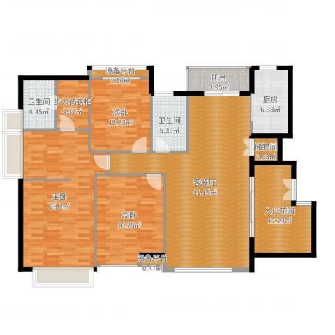五洲云景花苑3室2厅2卫1厨172.00㎡户型图