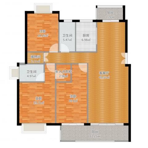 五洲云景花苑3室2厅2卫1厨175.00㎡户型图