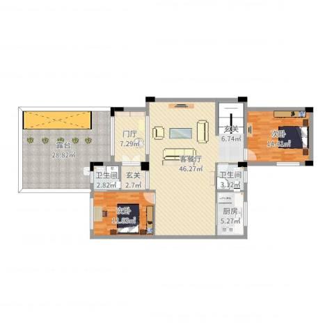 金科廊桥水乡别墅2室2厅2卫1厨153.00㎡户型图