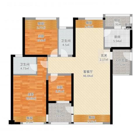 万科金域蓝湾3室2厅2卫1厨145.00㎡户型图