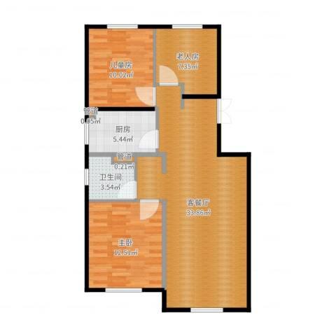 经纬城市绿洲海旋园2室2厅3卫2厨91.00㎡户型图