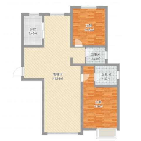 鼓楼上城2室2厅2卫1厨111.00㎡户型图