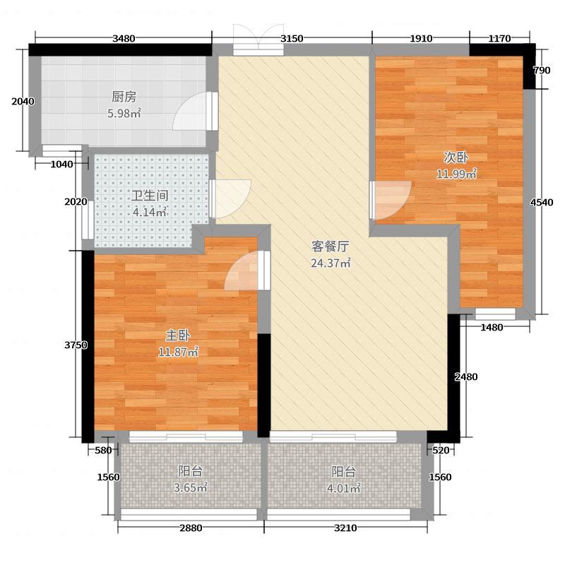 东方兰园83.00㎡一期1幢2幢6幢标准层C2'户型2室2厅1卫1厨