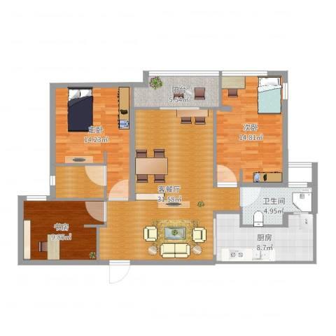 上林苑3室2厅2卫1厨116.00㎡户型图
