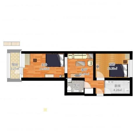 四平园2室1厅1卫1厨44.33㎡户型图