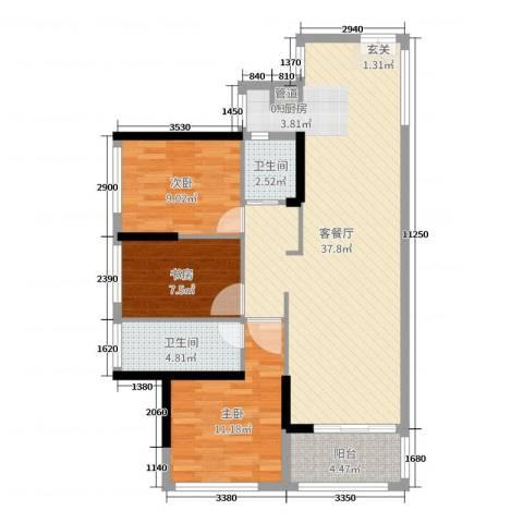 君跃荃新时代花园3室2厅2卫0厨97.00㎡户型图