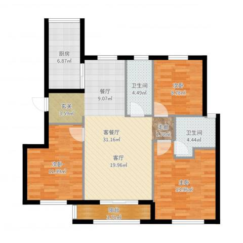 首创・象墅3室2厅2卫1厨107.00㎡户型图