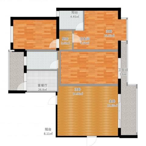 宏鑫锦江国际3室2厅2卫1厨114.00㎡户型图