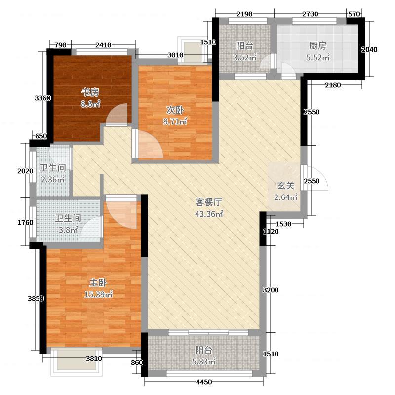 居易西郡原著122.00㎡高层B4户型3室3厅2卫1厨