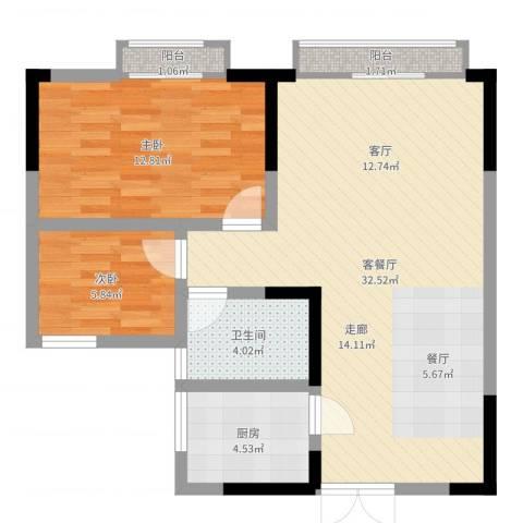 世纪嘉苑2室2厅1卫1厨78.00㎡户型图