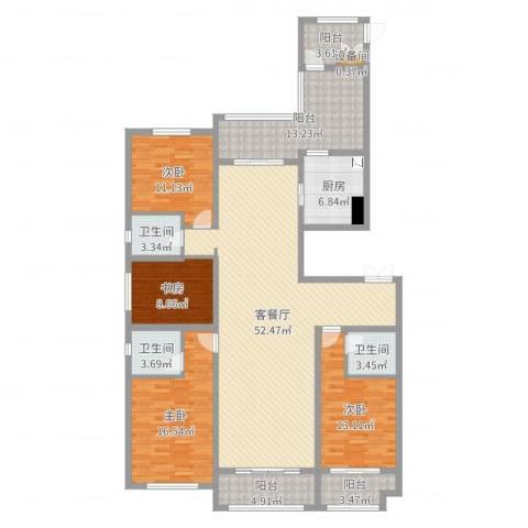 香港城4室2厅3卫1厨181.00㎡户型图