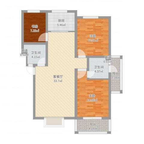 金鑫・盐湖城3室2厅2卫1厨89.58㎡户型图