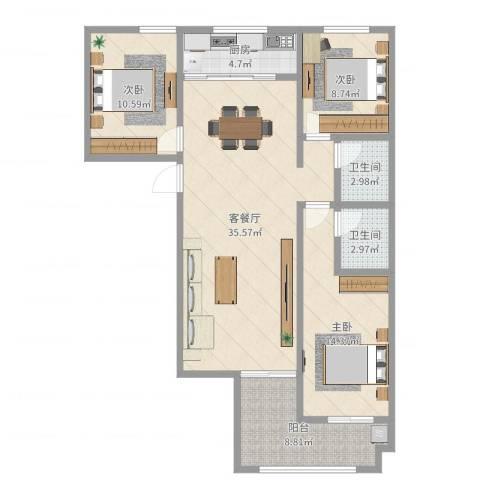 学府尚城3室2厅2卫1厨88.71㎡户型图