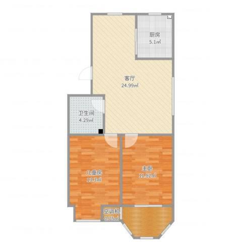 祥和花园2室1厅1卫1厨81.00㎡户型图