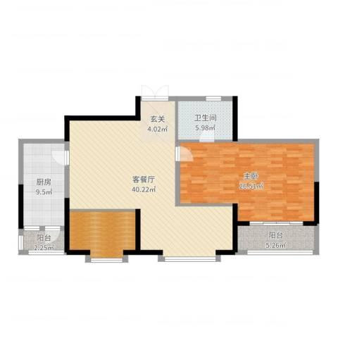 奥林国际公寓1室2厅1卫1厨122.00㎡户型图