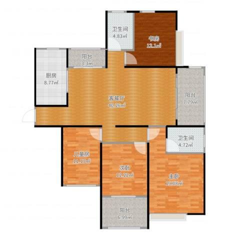 苏州首开常青藤4室2厅2卫1厨164.00㎡户型图