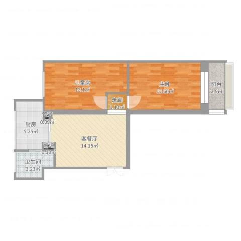 文化楼2室2厅1卫1厨66.00㎡户型图