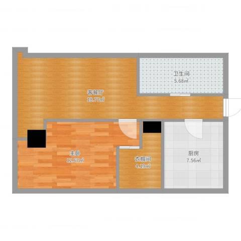 百大绿城西子国际1室2厅1卫1厨61.00㎡户型图