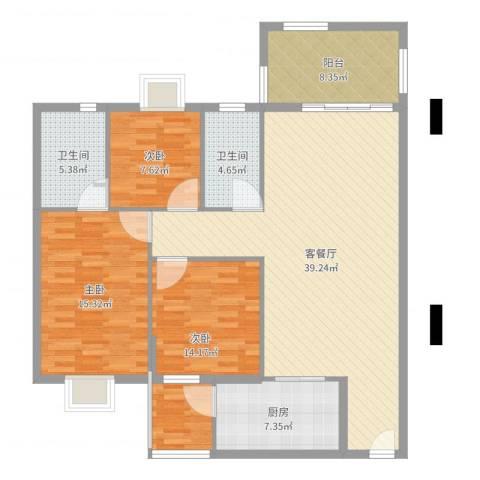 东田丽园三期3室2厅2卫1厨128.00㎡户型图