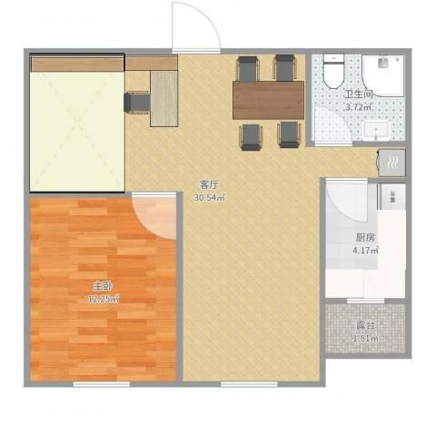 巴黎左岸1室1厅1卫1厨66.00㎡户型图