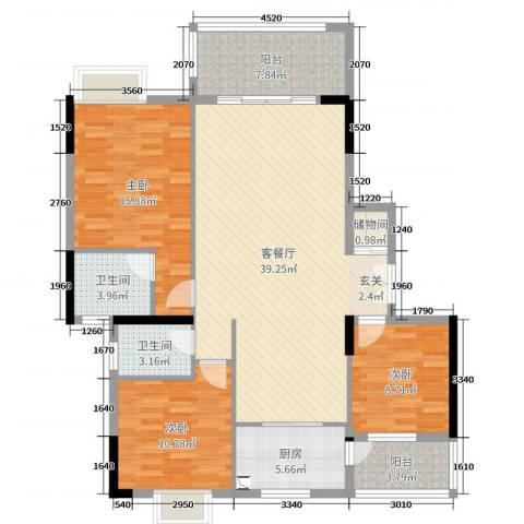 经纬凯旋城3室2厅2卫1厨127.00㎡户型图