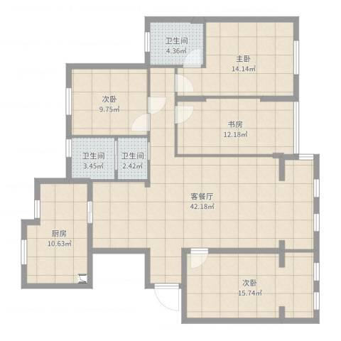 理工帝湖湾4室2厅3卫1厨144.00㎡户型图