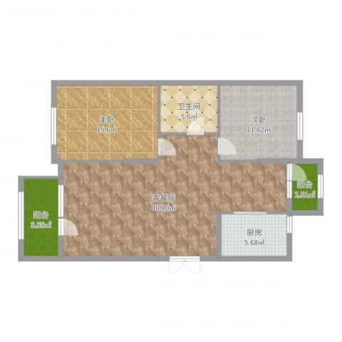 水榭花都2室2厅1卫1厨109.00㎡户型图