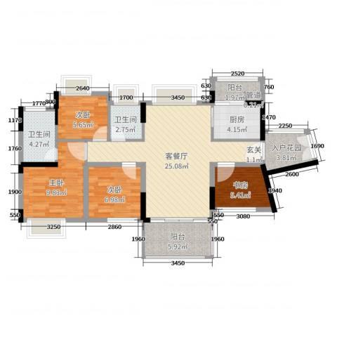 君跃荃新时代花园4室2厅2卫1厨95.00㎡户型图