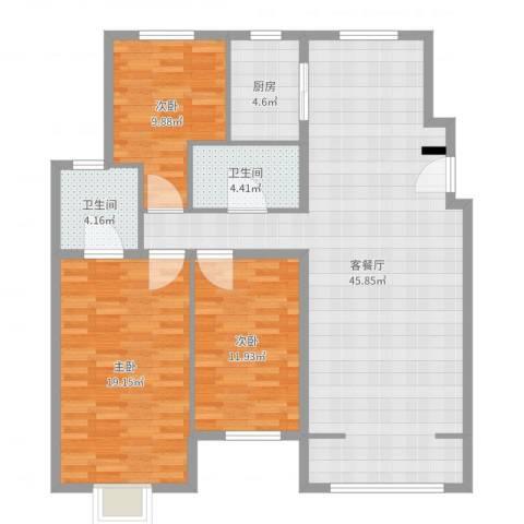 秦皇岛华润橡树湾3室2厅2卫1厨125.00㎡户型图