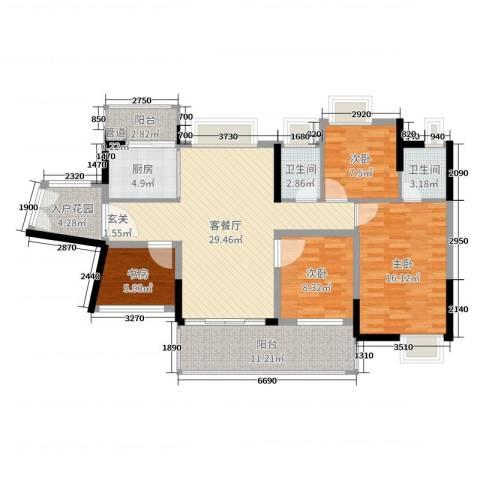 君跃荃新时代花园4室2厅2卫1厨121.00㎡户型图
