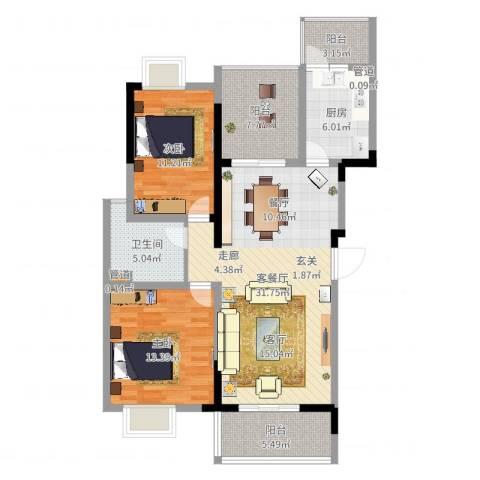 临港新城小区2室2厅1卫1厨105.00㎡户型图