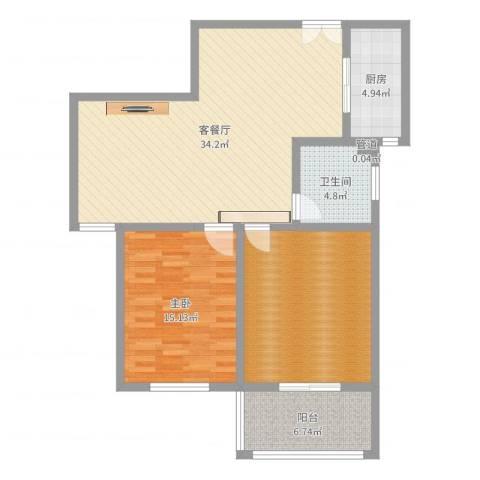 楚河花园1室2厅1卫1厨104.00㎡户型图