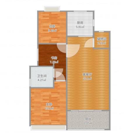 金杨金台苑3室2厅1卫1厨94.00㎡户型图