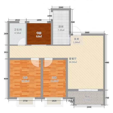 城开东岸3室2厅1卫1厨106.00㎡户型图