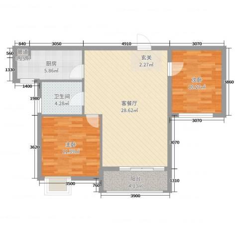 城开东岸2室2厅1卫1厨81.00㎡户型图