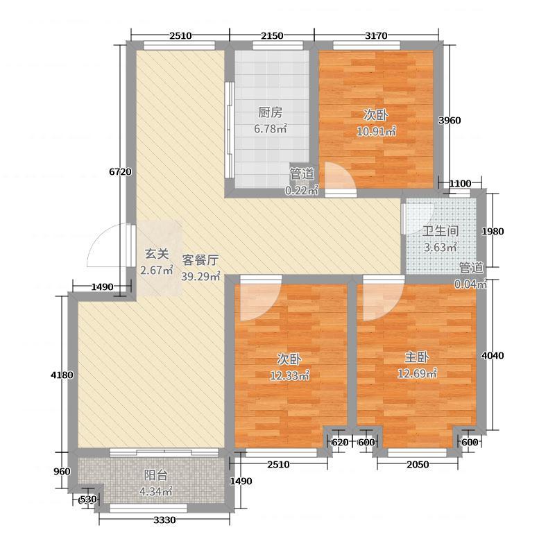 新方新�Z园112.91㎡一期多层D户型3室3厅1卫1厨
