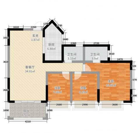 兰乔圣菲3室2厅2卫1厨116.00㎡户型图