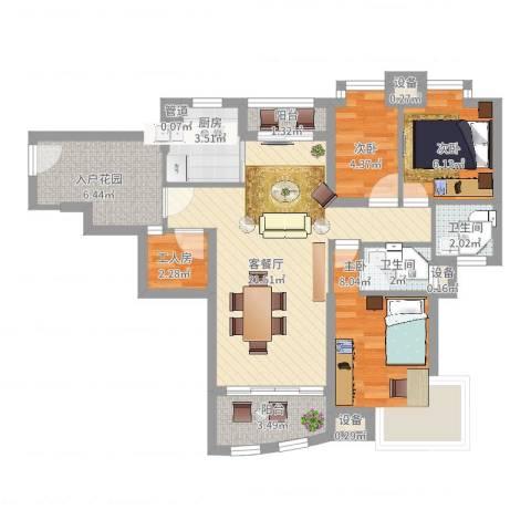 汇银城市花园3室2厅2卫1厨93.00㎡户型图