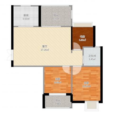 上东名筑3室1厅1卫1厨88.00㎡户型图