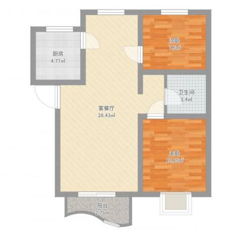 特变・阳光绿景2室2厅1卫1厨71.00㎡户型图