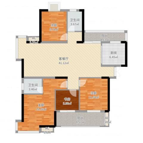 铜锣湾香逸澜湾4室2厅2卫1厨144.00㎡户型图