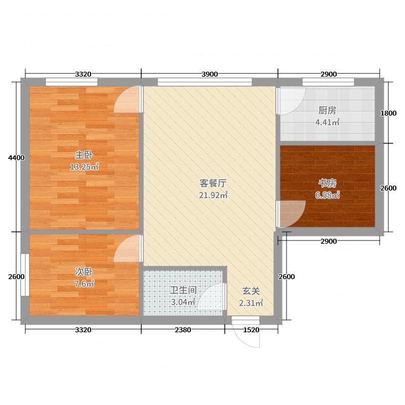 力鼎新城76.91㎡C户型3室3厅1卫1厨