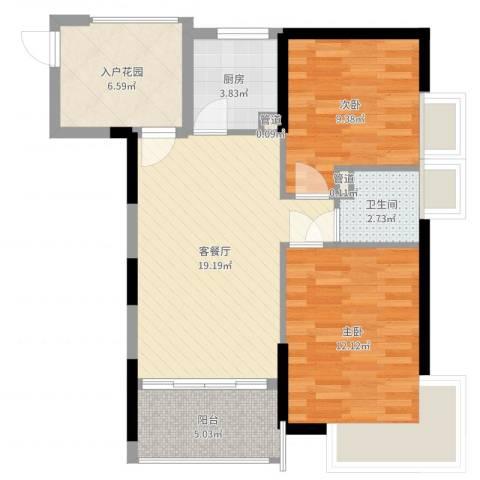 望族家园2室2厅1卫1厨74.00㎡户型图