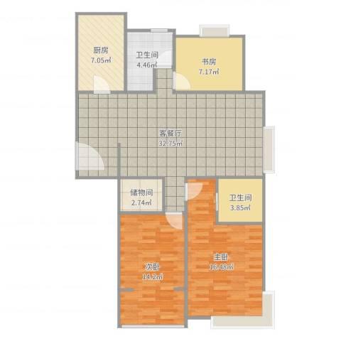爱家亚洲花园3室2厅2卫1厨111.00㎡户型图