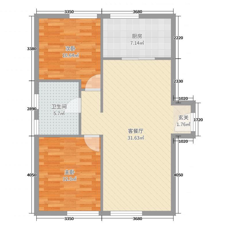 大连中航国际广场玖仰公馆95.00㎡C1号楼P户型2室2厅1卫1厨