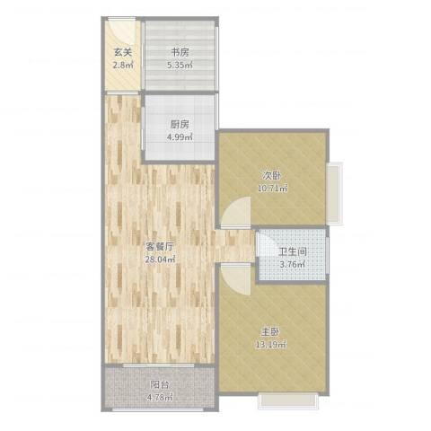 蓝天金地3室2厅1卫1厨88.00㎡户型图
