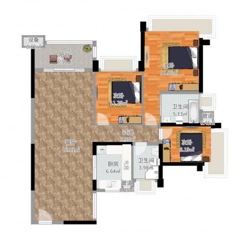 雅居乐世纪新城3室1厅2卫1厨134.00㎡户型图